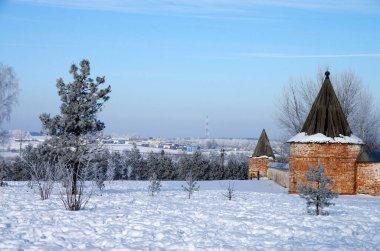 MOZHAISK, RUSSIA - FEBRUARY, 2021: Luzhnetsky Ferapontovsky monastery in winter frozen day