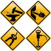 Kosočtverečné žluté dopravní značky s nástroji