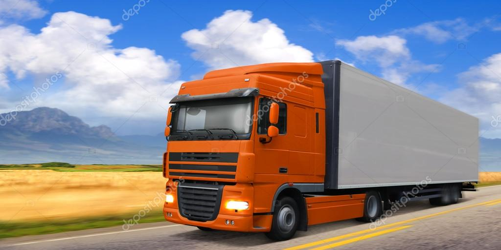 Truck DAF on highway.