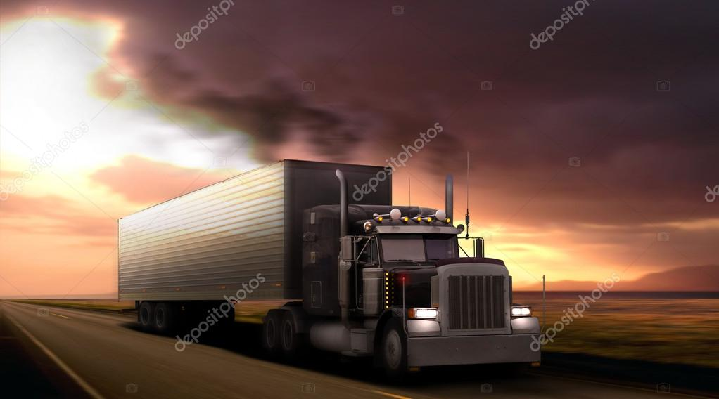 Truck peterbilt on highway.