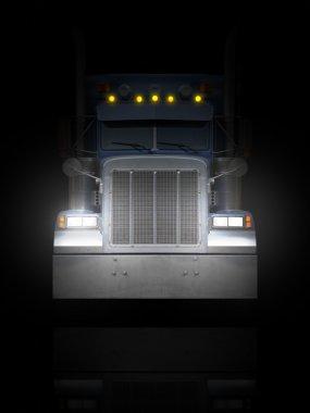 Truck front Peterbilt in the dark.