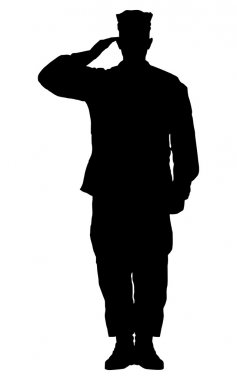 Silhouette of a soldier saluted.