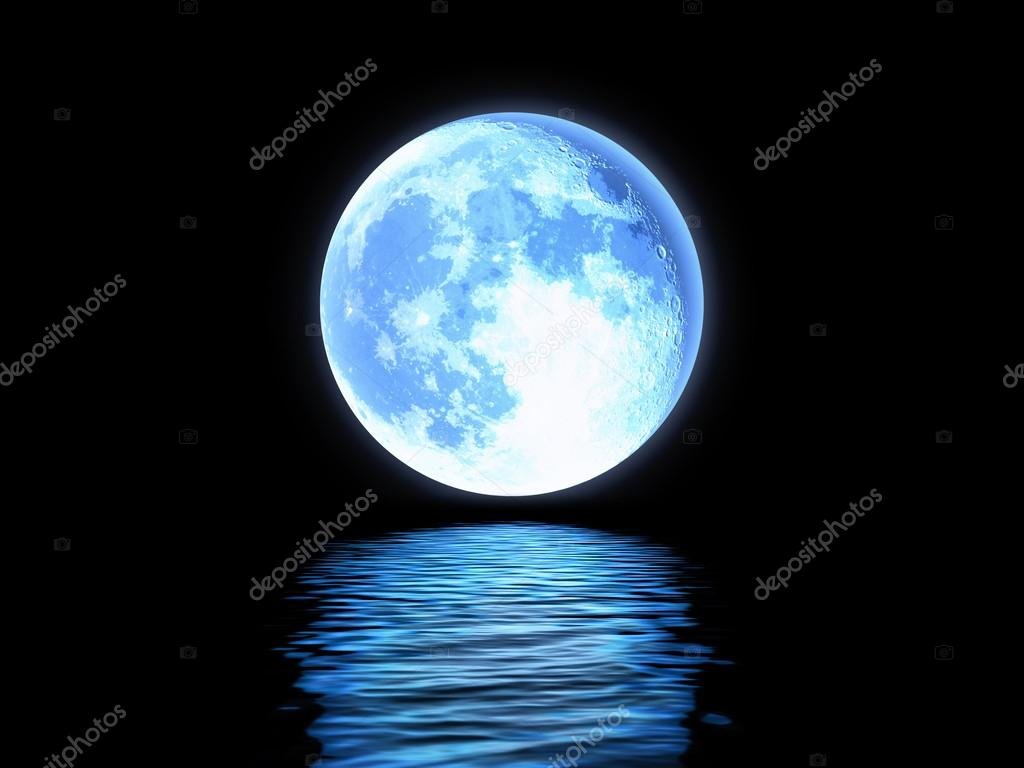 Full moon reflected in the water.