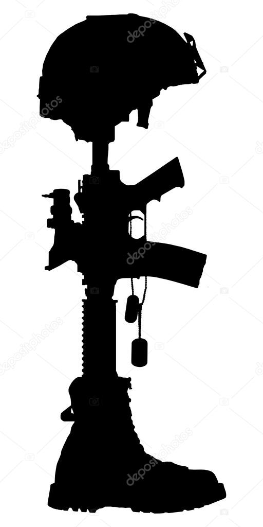 silhouette of the cross of the fallen soldier stock photo