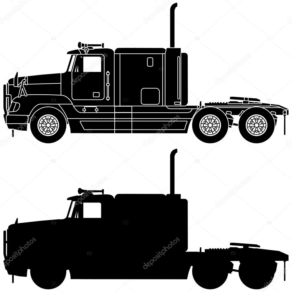 Silhouette Of A Truck Freightliner FLD120 Stock Photo