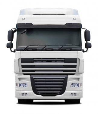 White DAF XF truck front view.