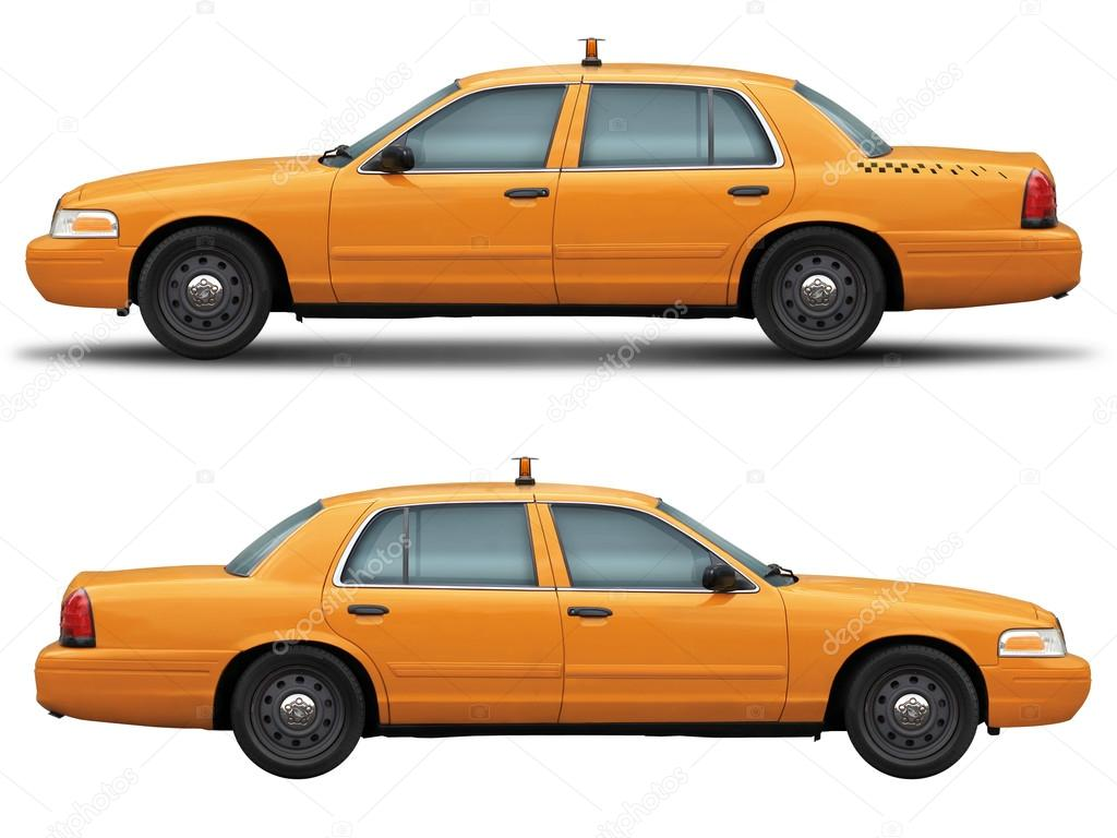 Yellow Taxi Car Ford Crown Victoria Side View Stock Photo