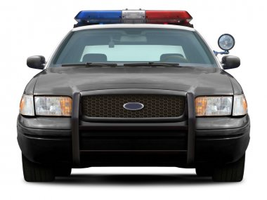 Police car front view.