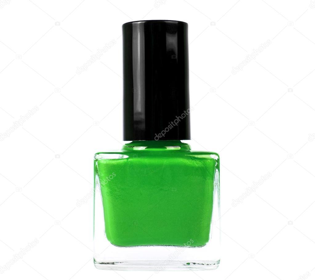 Botella de esmalte de uñas verde sobre fondo blanco — Fotos de Stock ...