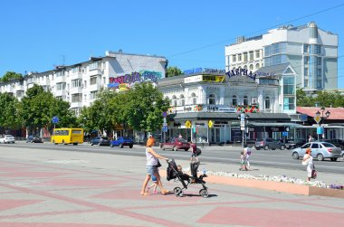 Simferopol, Crimea, July, 14, 2016. People walking along the Avenue of Kirov