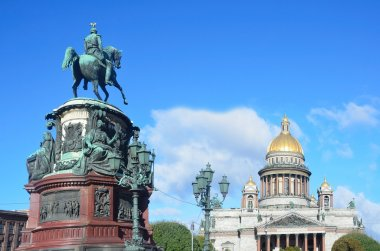 Monument to Emperor Nicholas 1 and St. Isaac's Cathedral in St. Petersburg