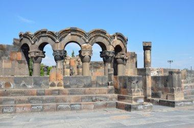 The ruins of the ancient temple of Zvartnots, Armenia