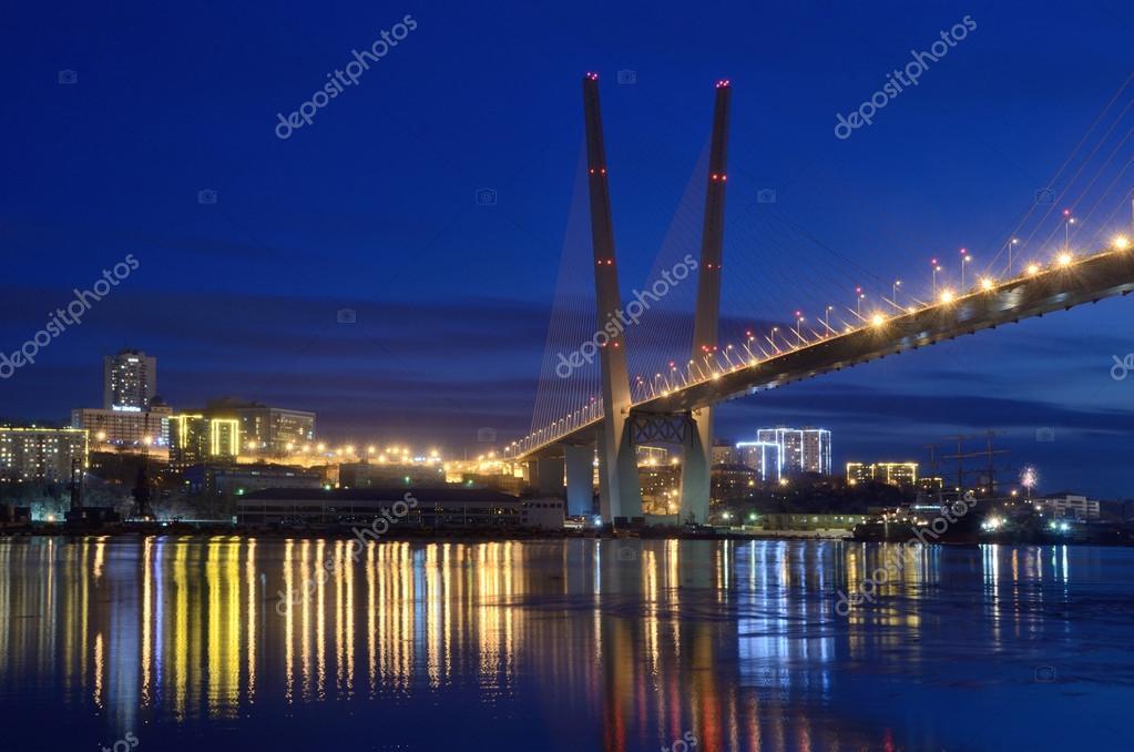 Night view for the bridge  across the Golden horn bay in Vladivostok