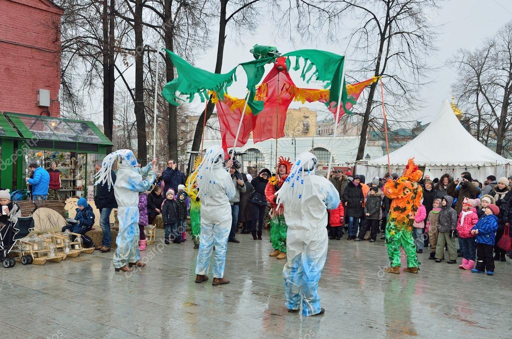 Moscow, Russia, February, 22,2015, Russian scene: People celebrating Maslenitsa holiday in the garden