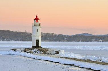 Vladivostok. The lighthouse Egersheld (1876) at the tip of the shkot Peninsula -Tokarevskaya koshka