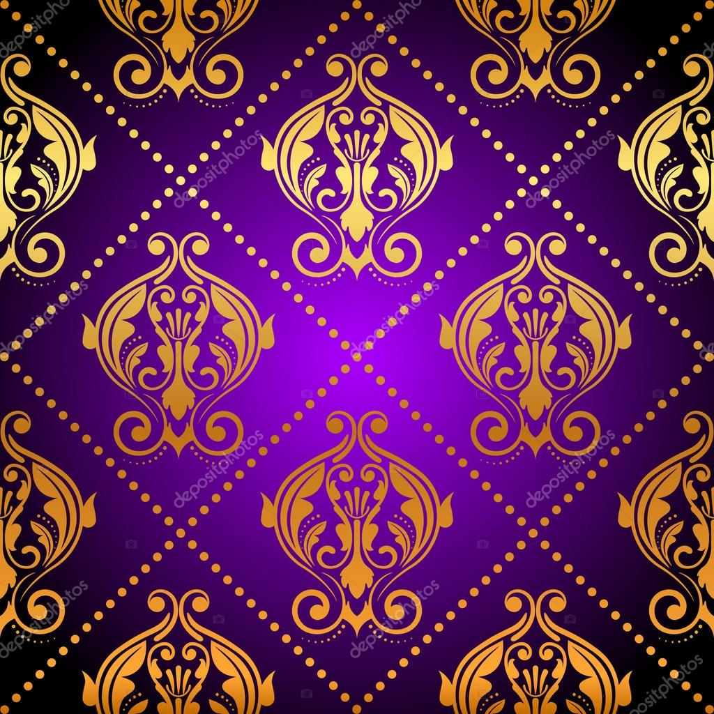 vector luxury purple background with gold ornament � stock