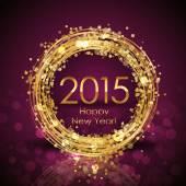 Fotografie Vektor-2015-Happy New Year-Hintergrund mit gold Uhr