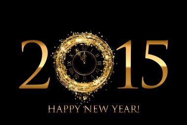 Vector 2015 Happy New Year background with gold shiny clock