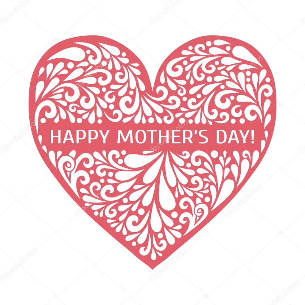 happy mothers day heart made from swirl shapes love symbol