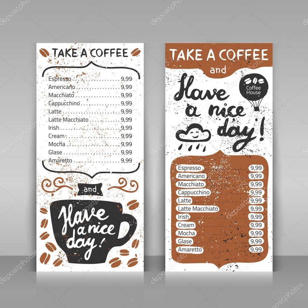 Kaffee Menüset. 2 Papier-Karten auf grauem Hintergrund ...