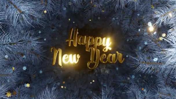 Arany hópehely egy kék fa háttér karácsonyi ágak. Új év és karácsony 2021. Loop animáció 4K