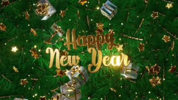 Mobilní zlatý nápis Šťastný Nový rok na pozadí zelených větví vánočních stromků se zlatými konfety, dárkové krabice. Animace 4K 3D smyčky