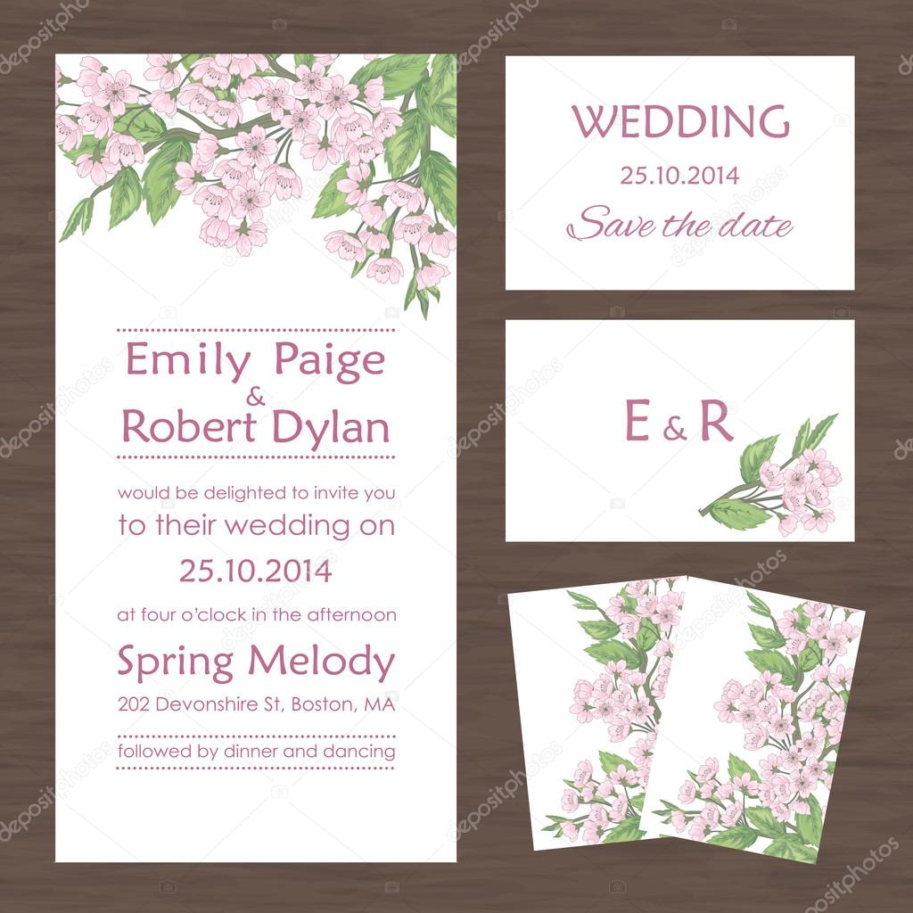 Wedding invitation, thank you card, save the date cards. — Stock ...
