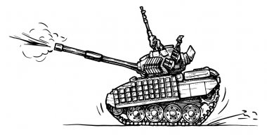 Vector drawing of heavy tank stylized as engraving in comics style stock vector