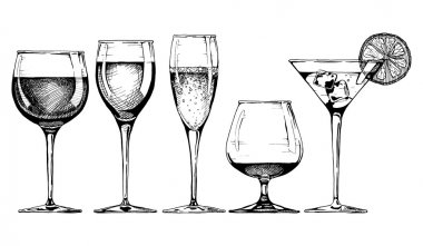 Vector set of glasses goblets in ink hand drawn style. isolated on white. stock vector