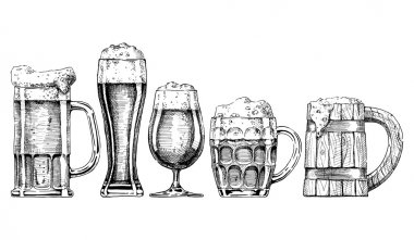 Vector set of beer glasses and mugs in ink hand drawn style. isolated on white. stock vector