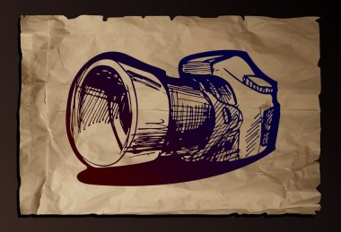 illustration of camera on old paper background.