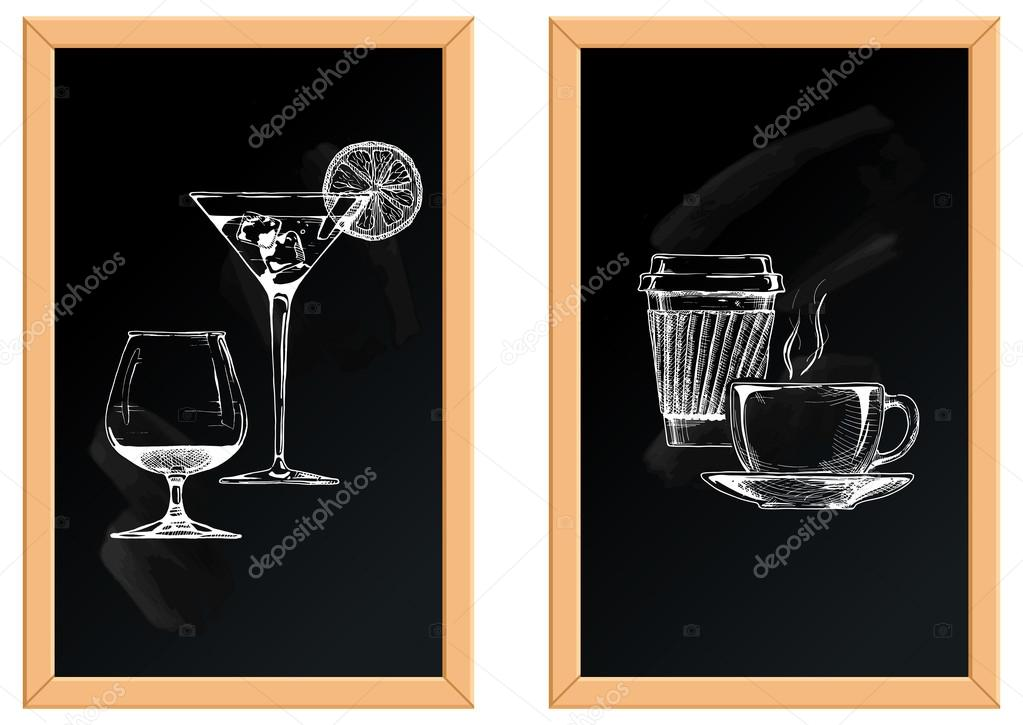 set of alcoholic and soft drinks.