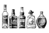 Photo bottles of alcohol. Distilled beverage