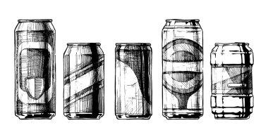 set of beverage cans