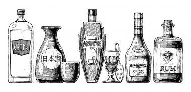 bottles of alcohol. Distilled beverage.