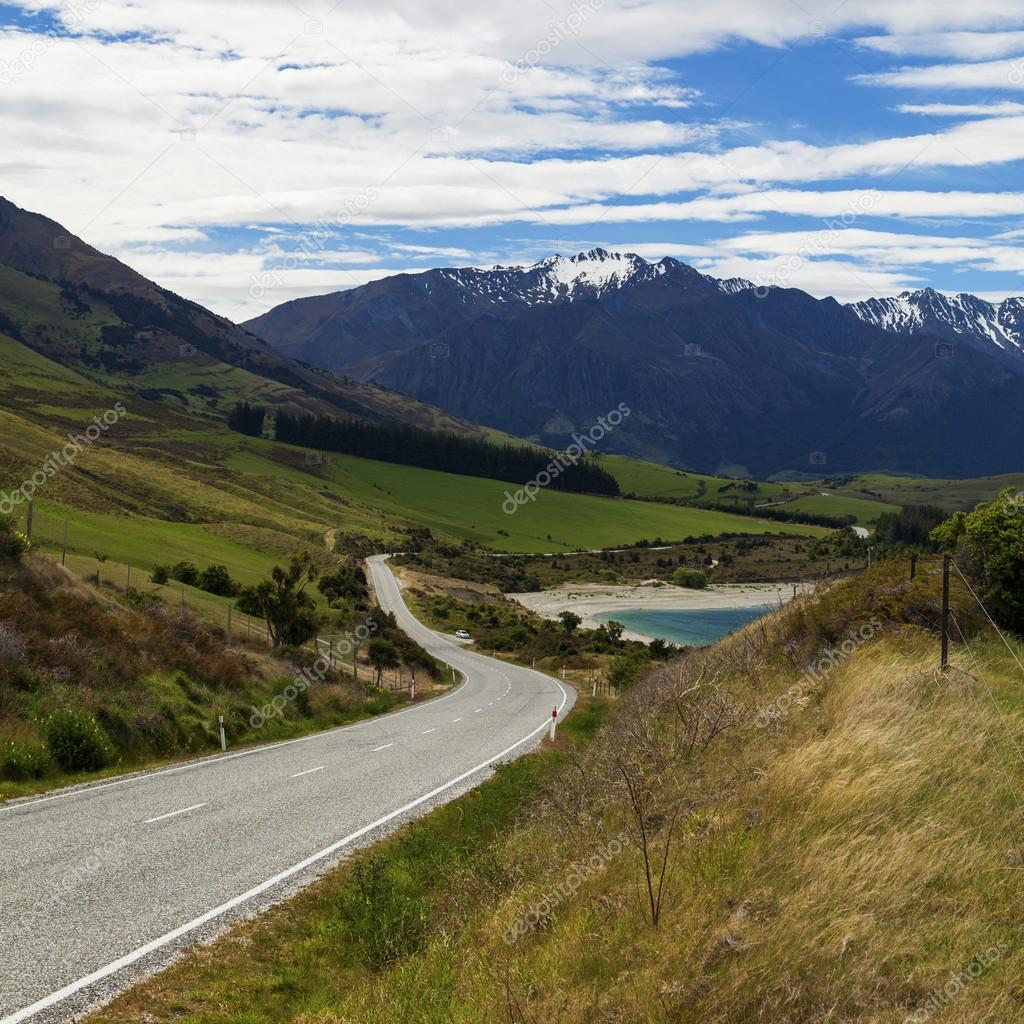 Winding scenic road on New Zealand's South Island