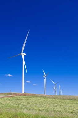 Wind turbines on lush grassy Australian hillside stock vector