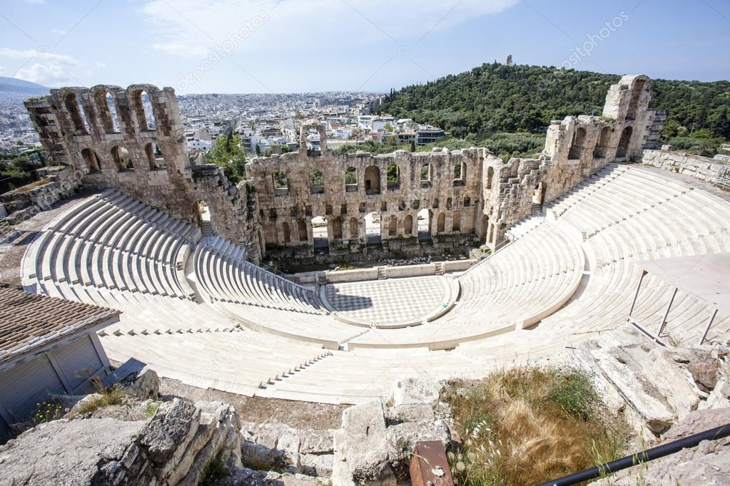 Interni Dell Odeon Antico Teatro Greco Di Herodes Atticus