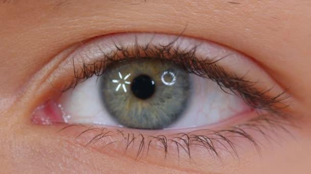 Beautiful human eye close-up. Young Woman one eye macro shoot. Macro Closeup eye blinking and looking. Eyelid, iris, Eyesight concept.