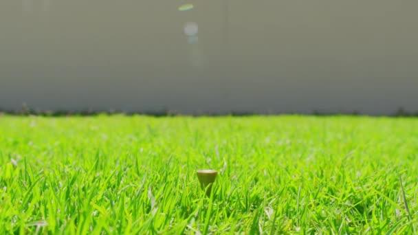 Golfista umístění golfový míček na tee na golfovém hřišti. Closeup.