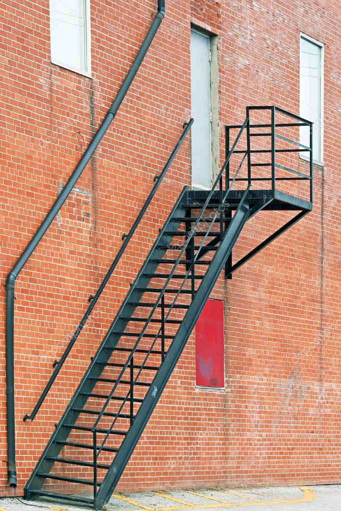 Metal Stair Fire Escape On Exterior Of Brick Building U2014 Stock Photo