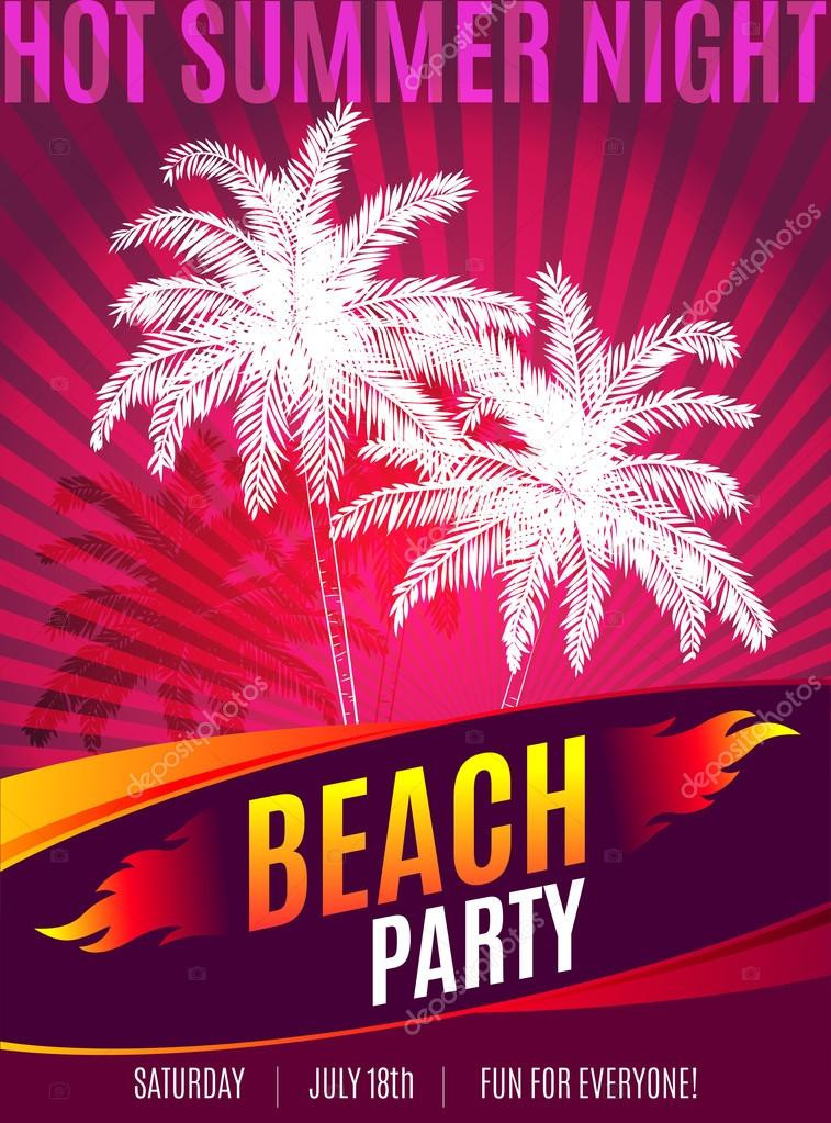 Beach Party design of flyer with place for text