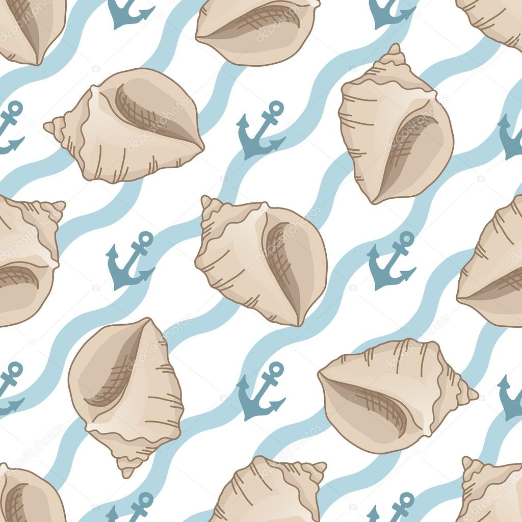 Seamless patterns with seashells and anchors