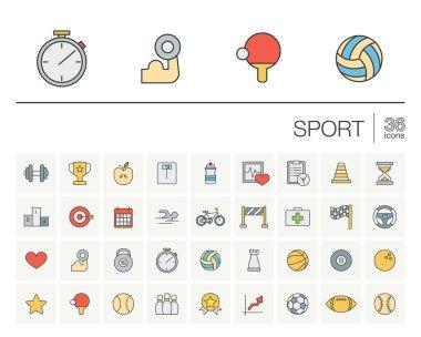 sport thin line icons set