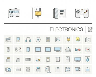 electronics thin line icons set