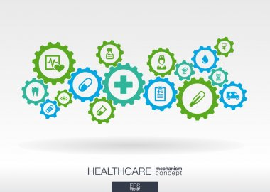Healthcare mechanism concept. Abstract background with connected gears and icons for medical, health, care, medicine, network, social media and global concepts. Vector infographic illustration. stock vector