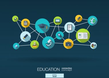 Education network  flat icons