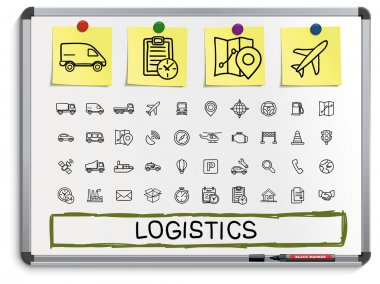 Logistic hand drawing line icons.