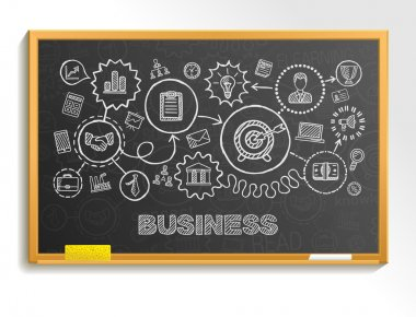 Business hand draw integrated icons