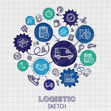 Logistic hand drawing icons